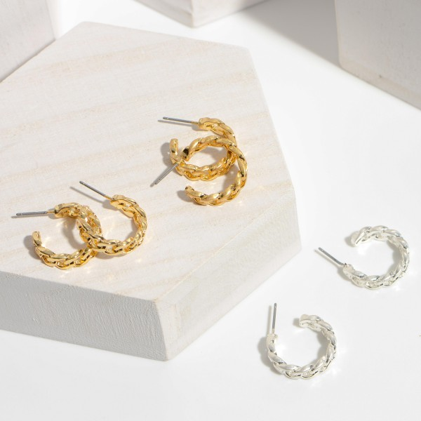 """Curb Chain Hoop Earrings in a Worn Finish.  - Approximately .75"""" in Diameter"""