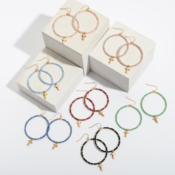 """Beaded Cross Drop Earrings in Gold.  - Approximately 2.5"""" in Length"""