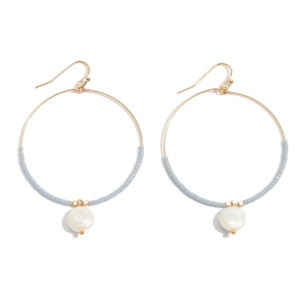 """Seed Beaded Circular Drop Earrings Featuring Pearl Accent in Gold.  - Approximately 2.5"""" L x 2"""" W"""