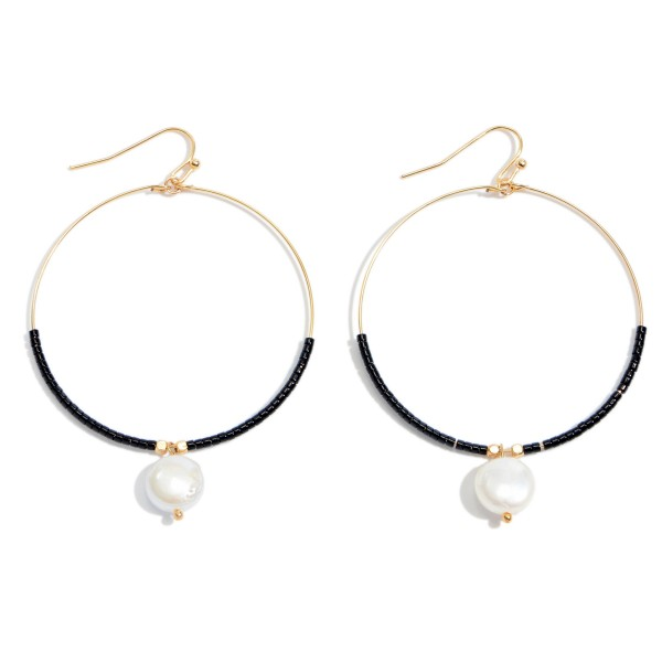 Wholesale seed Beaded Circular Drop Earrings Pearl Accent Gold L W