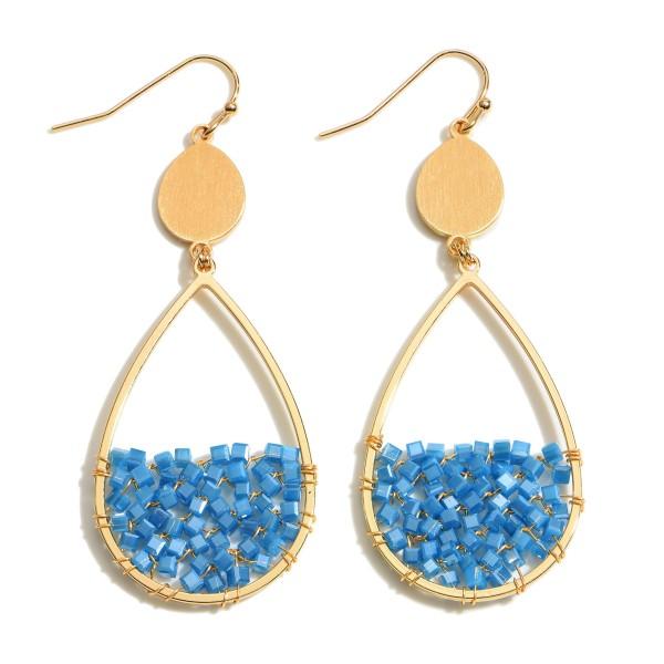 """Half Wire Beaded Teardrop Earrings in Gold.  - Approximately 2.25"""" in Length"""