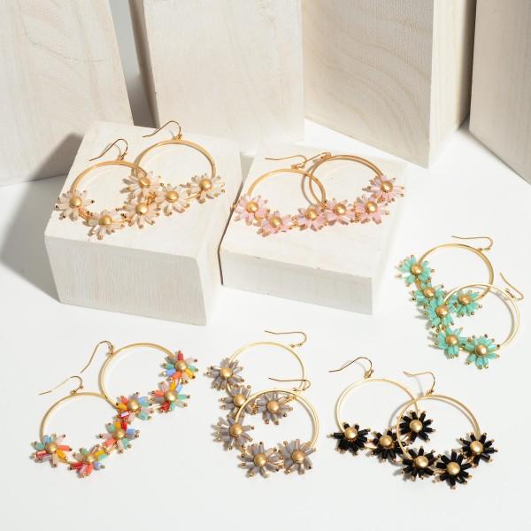 "Crystal Flower Beaded Drop Earrings in Gold.  - Approximately 2"" in Length"