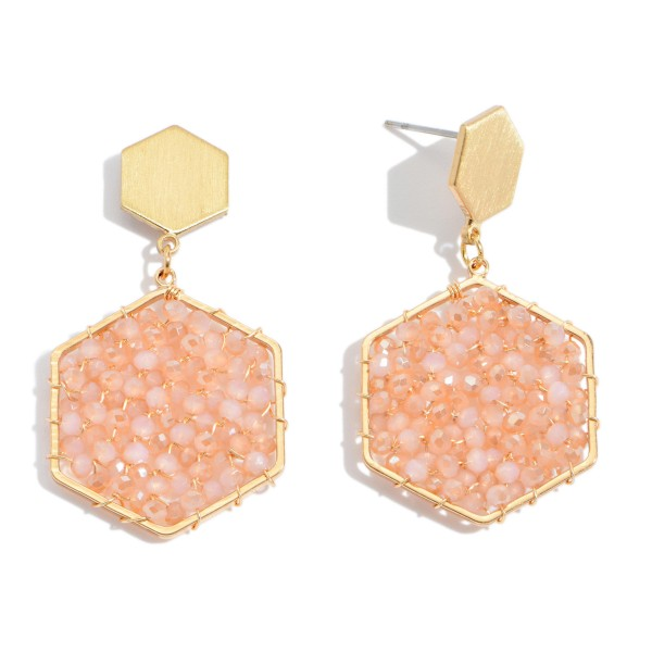 "Beaded Hexagon Drop Earrings in Gold.  - Approximately 1.5"" in Length"