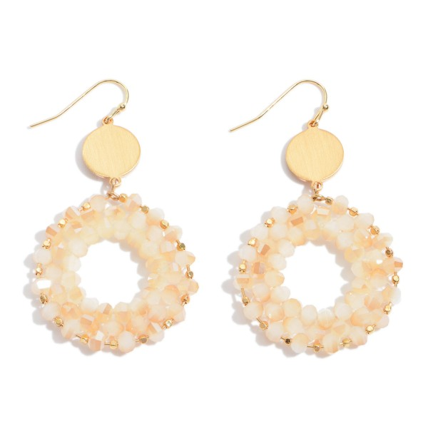 "Beaded Ring Drop Earrings in Gold.  - Approximately 2"" in Length"