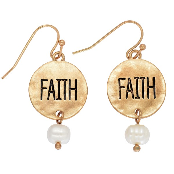 """Faith Coin Pearl Hammered Drop Earrings.  - Approximately 1"""" in Length"""