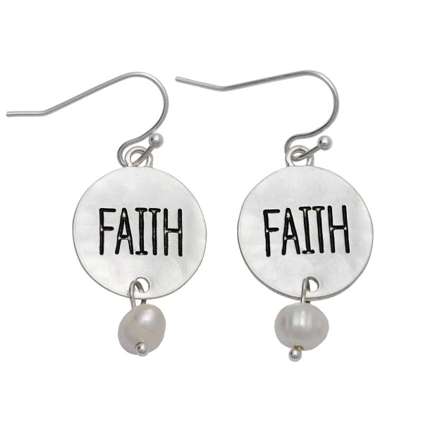 """Hammered Faith Coin Pearl Drop Earrings in Silver.  - Approximately 1"""" in Length"""