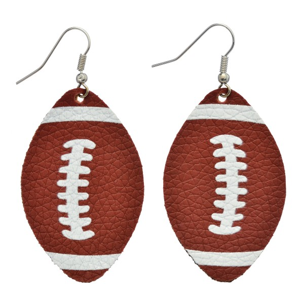 """Faux Leather Game Day Football Drop Earrings.  - Approximately 2"""" in Length"""
