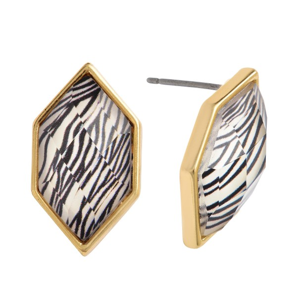 """Animal Print Stud Earrings in Gold.  - Approximately .75"""" in Size"""