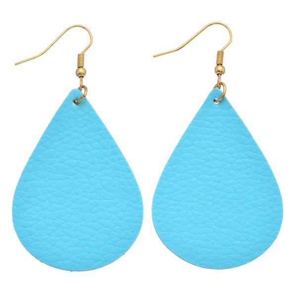 "Faux Leather Solid Teardrop Earrings.  - Approximately 2.5"" in Length"