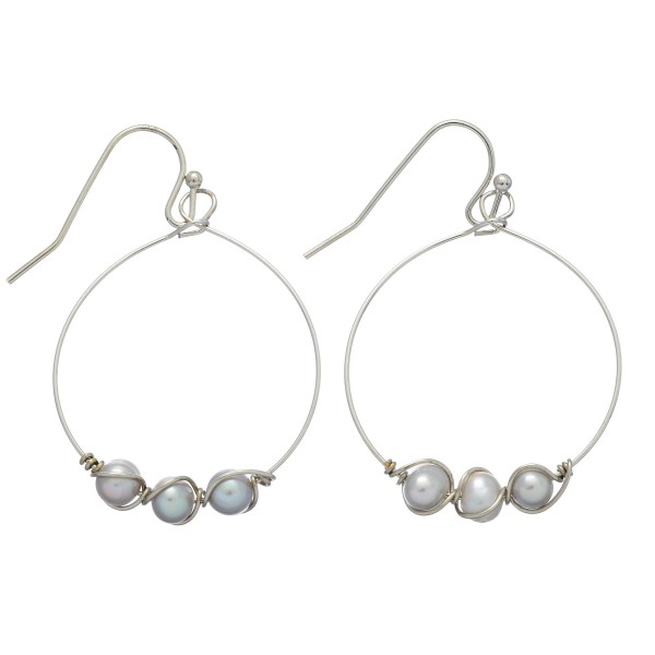 """Freshwater Pearl Wire Drop Earrings.  - Approximately 1.5"""" in Length - Approximately 1"""" in Diameter"""