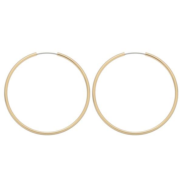 "Genuine Brass Hollow Hoop Earrings.  - Approximately 1.5"" in Diameter"