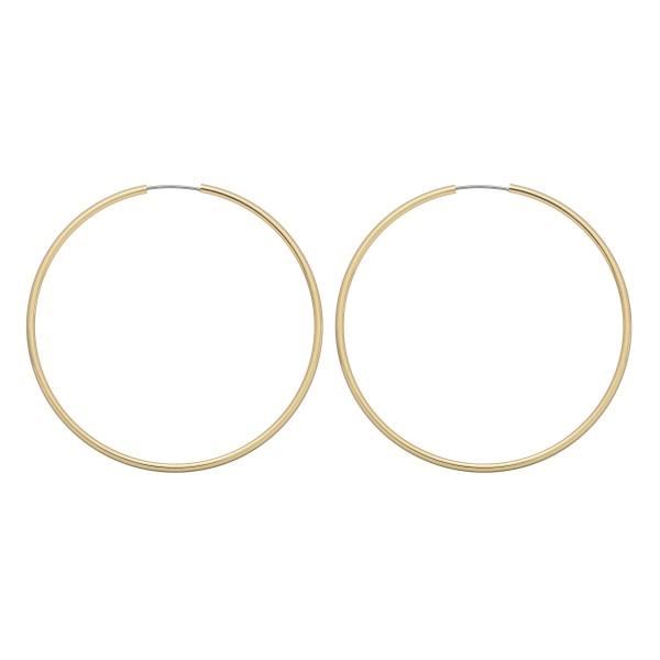 "Genuine Brass Hollow Hoop Earrings.  - Approximately 2"" in Diameter"