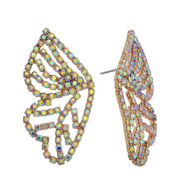"Rhinestone Butterfly Wing Statement Stud Earrings.  - Approximately 1.75"" in Length"