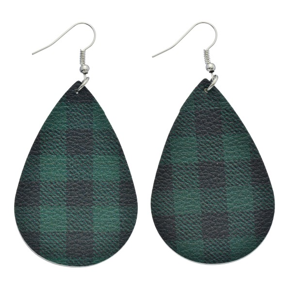 """Faux Leather Buffalo Check Drop Earrings.  - Approximately 2.5"""" in Length"""