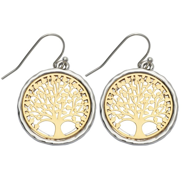 "Two Tone Filigree Tree of Life Drop Earrings.  - Approximately .75"" in Diameter - Approximately 1"" in Length"