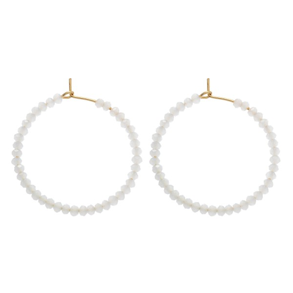 "Short Beaded Hoop Earrings.  - Approximately 1.5"" in Diameter"