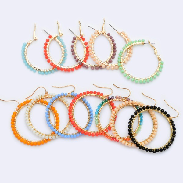 "Beaded Drop Earrings in Gold.  - Inner Diameter approximately 1.5""  - Approximately 2"" in Length"