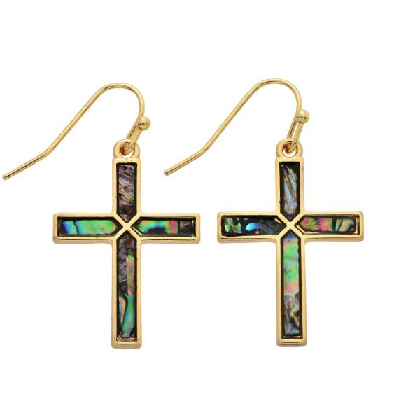 "Genuine Abalone Cross Drop Earrings,  - Approximately 1"" in Length"
