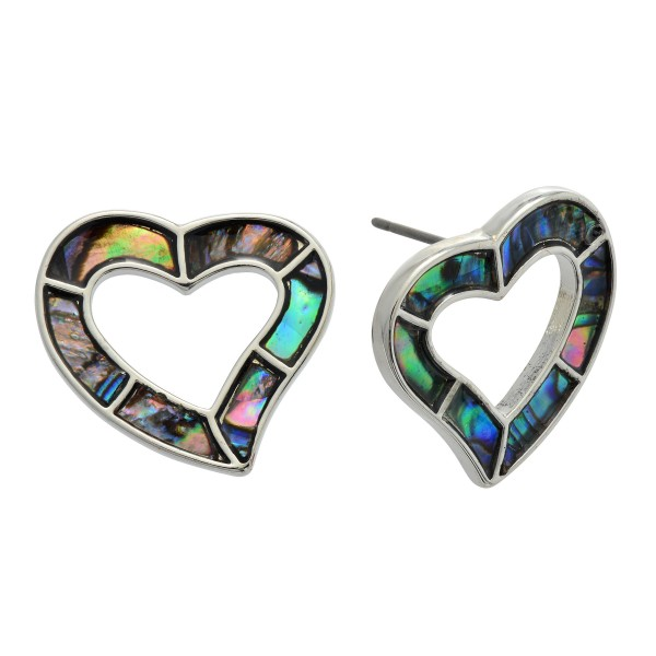 "Genuine Abalone Heart Stud Earrings.  - Approximately .75"" in Size"