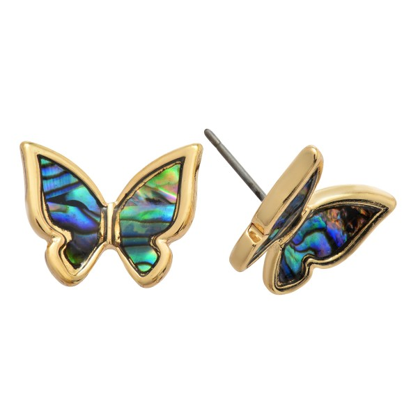 "Genuine Abalone Butterfly Stud Earrings.  - Approximately .5"" in Size"
