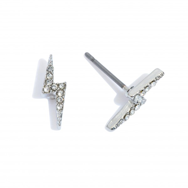 Dainty Rhinestone Lightning Bolt Stud Earrings.  - Approximately 1cm in Size