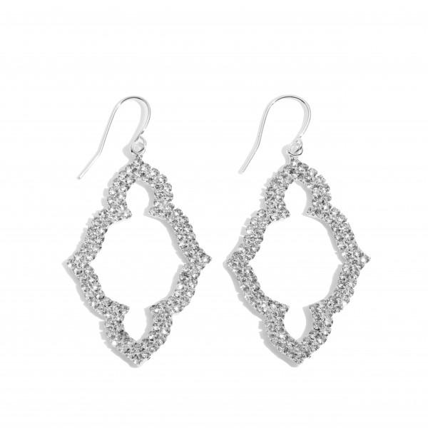 """Rhinestone Moroccan Shape Drop Earrings.  - Approximately 2"""" in Length"""