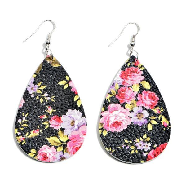 """Faux Leather Flower Print Teardrop Earrings.  - Approximately 2.5"""" in Length"""