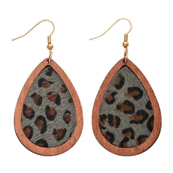 Wholesale wooden Leopard Print Teardrop Earrings