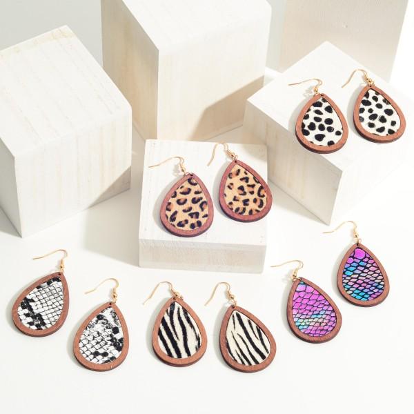 """Wooden Animal Print Teardrop Earrings.  - Approximately 2.5"""" in Length"""