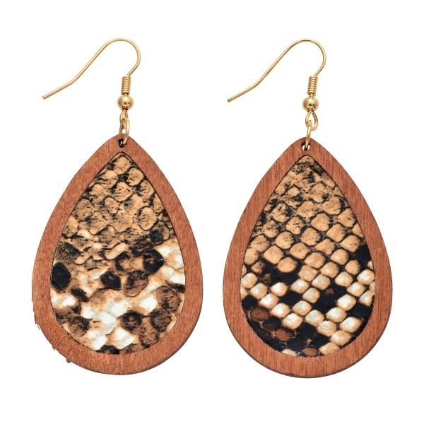 """Wooden Snakeskin Teardrop Earrings.  - Approximately 2.5"""" in Length"""