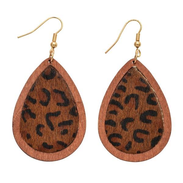 """Wooden Leopard Print Teardrop Earrings.  - Approximately 2.5"""" in Length"""