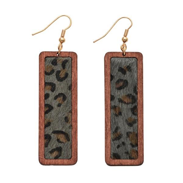 """Wooden Leopard Print Bar Drop Earrings.  - Approximately 3"""" in Length"""