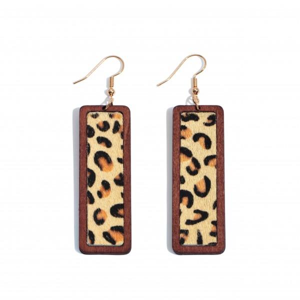 """Wooden Leoaprd Print Bar Drop Earrings.  - Approximately 3"""" in Length"""