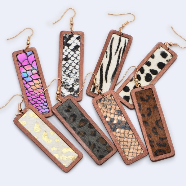 """Wooden Animal Print Bar Drop Earrings.  - Approximately 3"""" in Length"""