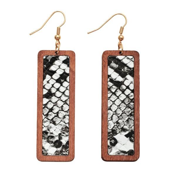 """Wooden Snakeskin Bar Drop Earrings.  - Approximately 3"""" in Length"""
