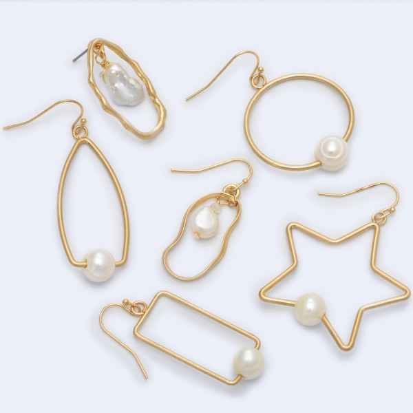"""Triangular Drop Earrings in Gold Featuring Ringed Pearl Detail.  - Pearl approximately 9mm - Approximately 2"""" in Length"""