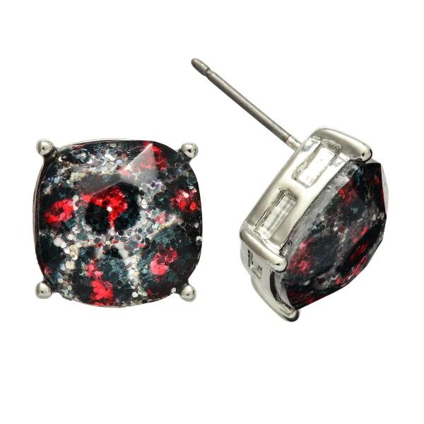 Glittery Leopard Print Stud Earrings.  - Approximately 12mm in Size