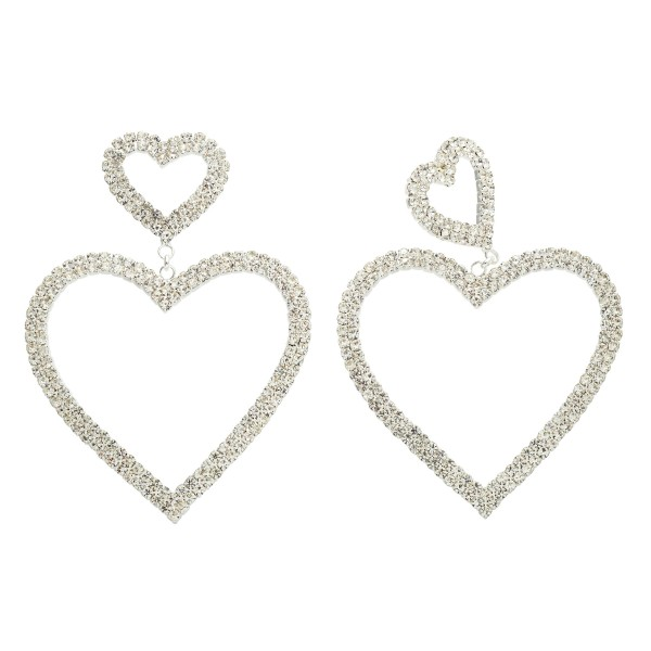 "Double Rhinestone Heart Statement Drop Earrings.  - Approximately 3"" in Length - Hearts approximately 1"" - 2"" in Size"