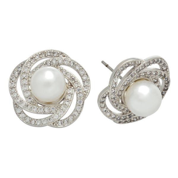 """Rhodium Plated Cubic Zirconia Pearl Nested Stud Earrings.  - Pearl approximately 6mm - Approximately .75"""" in Size"""