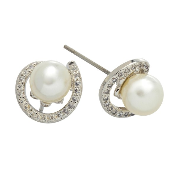 Rhodium Plated Cubic Zirconia Pearl Stud Earrings.  - Pearl approximately 6mm  - Approximately 10mm in Size