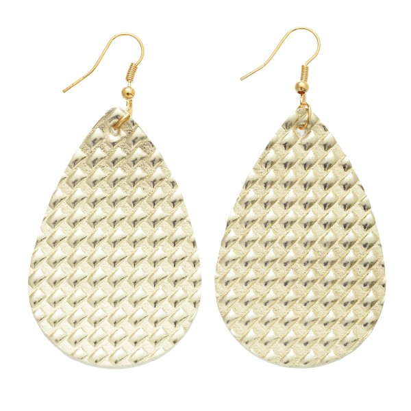 """Faux Leather Textured Teardrop Earrings.  - Approximately 3"""" in Length"""