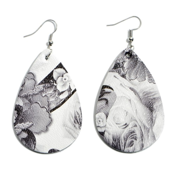 "Faux Leather Floral Print Teardrop Earrings.  - Approximately 2.5"" in Length"