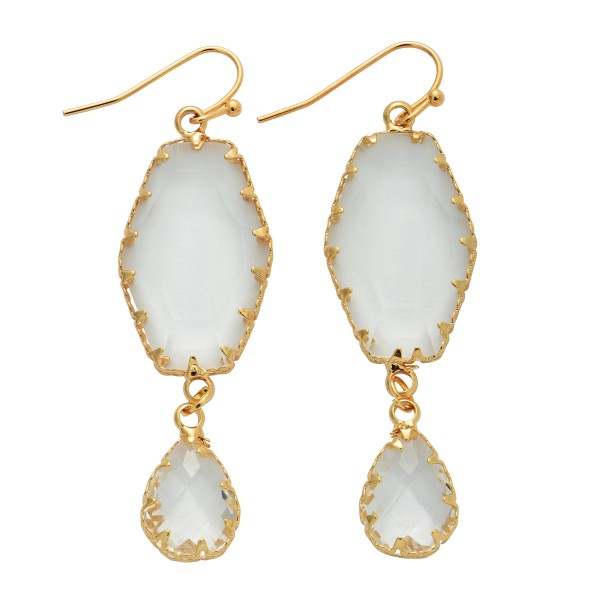 """Crystal Teardrop Drop Earrings.  - Approximately 2.5"""" in Length"""