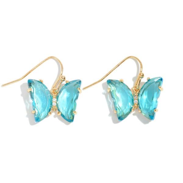 "Crystal Butterfly Drop Earrings.  - Approximately 1"" in Length"