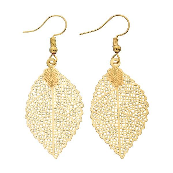 "Filigree Leaf Drop Earrings.  - Approximately 2"" in Length"