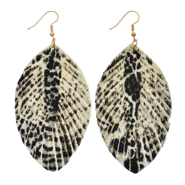 """Cowhide Animal Print Feather Drop Earrings.  - Approximately 4"""" in Length"""