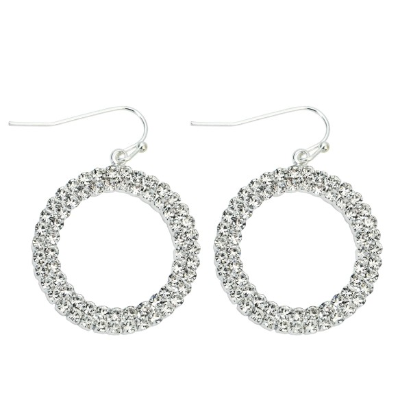"Rhinestone Circle Drop Earrings.  - Approximately 1"" in Diameter  - Approximately 1.25"" in Length"