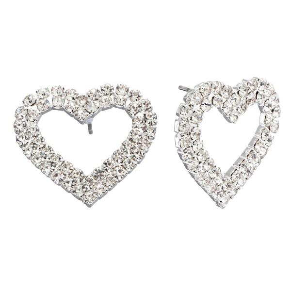 """Rhinestone Heart Stud Earrings.  - Approximately 1"""" in Size"""