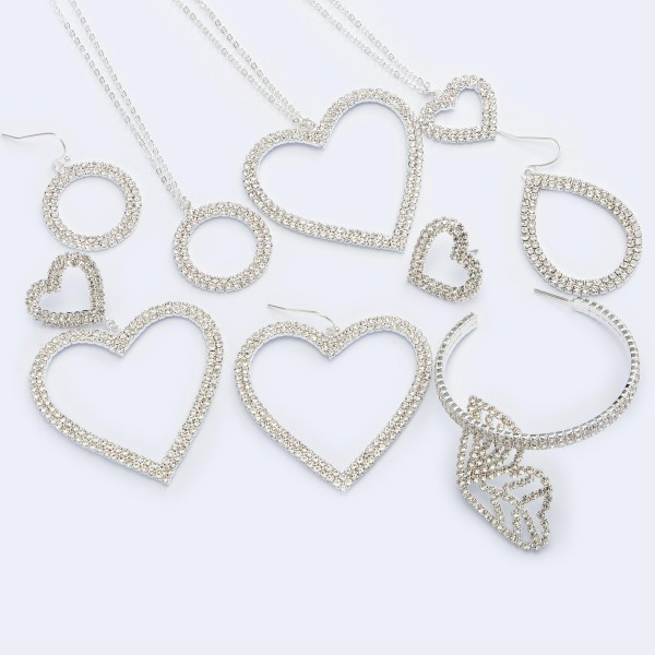 """Rhinestone Heart Statement Drop Earrings.  - Approximately 2"""" in Size"""