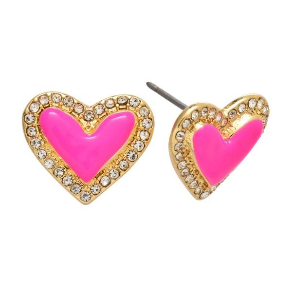 """Rhinestone Epoxy Heart Stud Earrings.  - Approximately .5"""" in Size"""